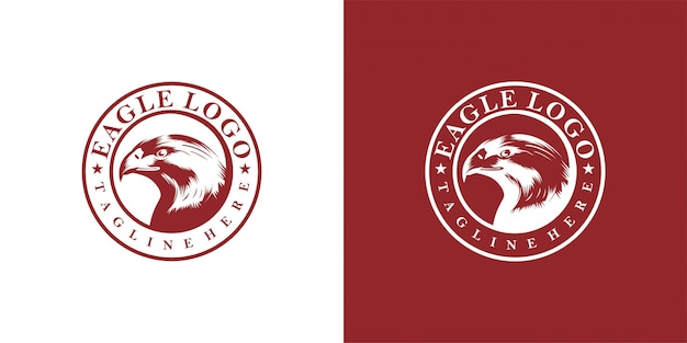 Diseño de águila emblema, vintage, sello, insignia, plantilla de vector logo