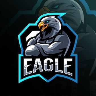 Diseño de águila mascota logo esport