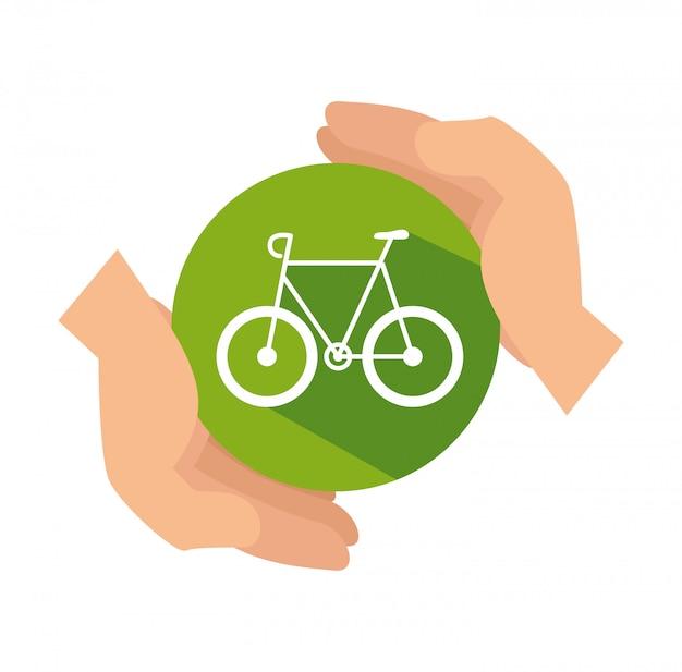 Diseño aislado del vehículo ecología bicicleta en estilo plano
