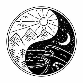 Diseño al aire libre vintage yin yang monoline