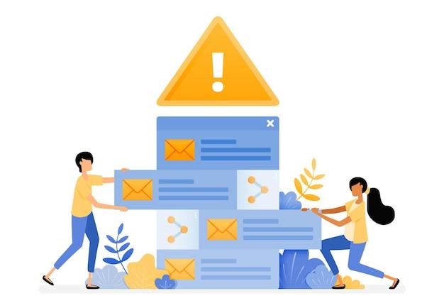 Diseño de alertas de error para clasificar los correos electrónicos entrantes que contienen virus de malware.