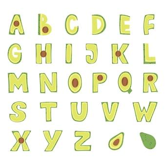 Diseño de alfabeto de aguacate. letras mayúsculas.
