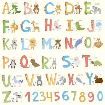 Diseño de alfabeto de animales