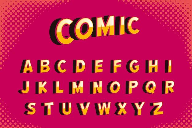 Diseño de alfabeto cómico 3d