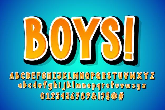 Diseño de alfabeto cómico de dibujos animados