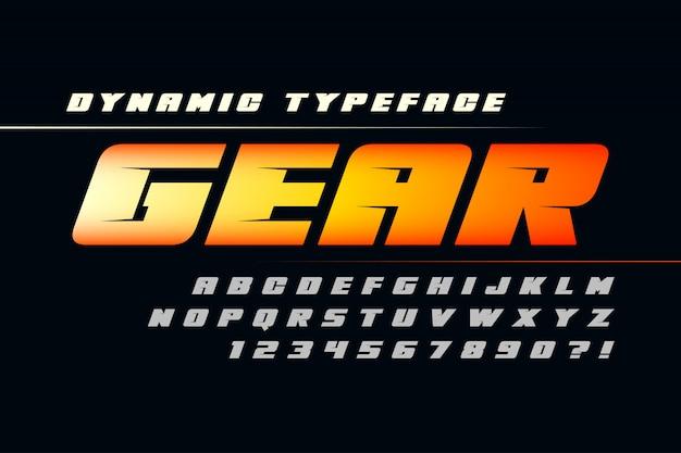 Diseño de alfabeto futurista, tipo de letra, letras y números.