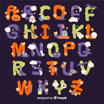 Diseño de alfabeto de halloween