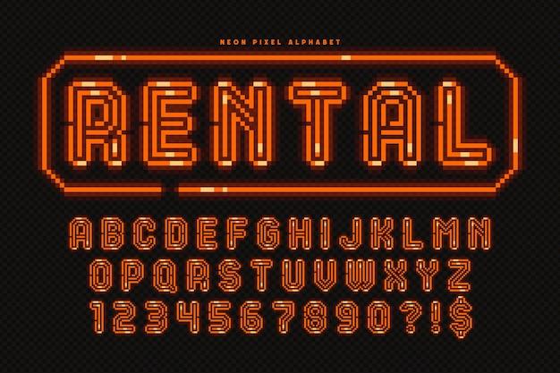 Diseño de alfabeto de neón de píxeles, estilo arcade. alto contraste, retro-futurista. control de color de muestra sencillo.