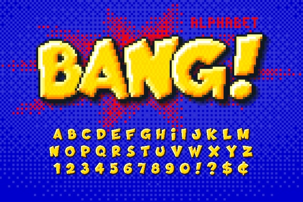 Diseño de alfabeto de píxeles, estilizado como en los juegos de 8 bits.