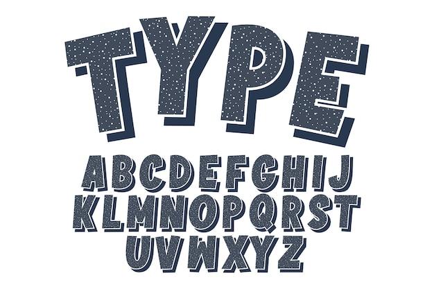 Diseño de alfabeto retro vintage con fuente de dibujos animados clásico de patrón de puntos