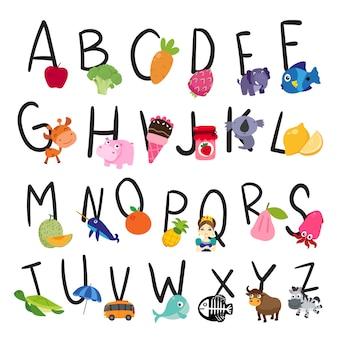 Diseño de alfabeto vectorial para niños