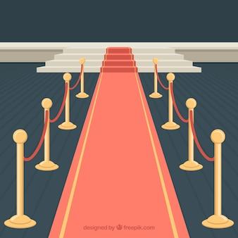 Diseño de alfombra roja con escaleras