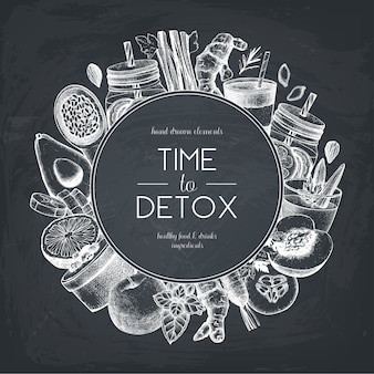 Diseño de alimentos y bebidas saludables en la pizarra. fondo con vegetales dibujados a mano, frutas, hierbas, bocetos de nueces. plantilla de ideas de dieta de verano.