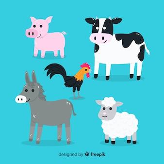 Diseño amigable de la colección de animales de dibujos animados