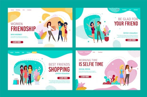 Diseño de amistad femenina para conjunto de páginas de aterrizaje