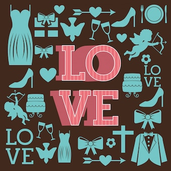 Diseño de amor sobre fondo marrón ilustración vectorial