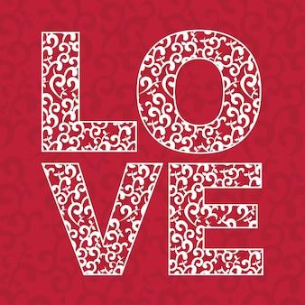 Diseño de amor sobre ilustración de vector de fondo rojo