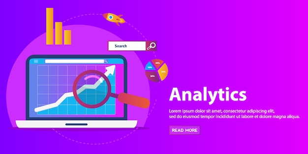 Diseño de analítica web de ilustración plana, optimización seo.