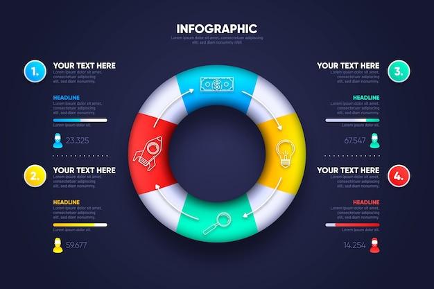 Diseño de anillo 3d infografía