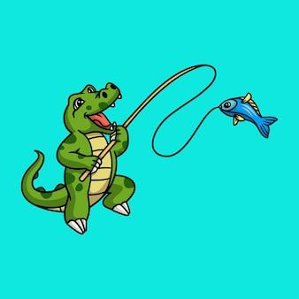 Diseño animal de dibujos animados cocodrilo pesca linda mascota