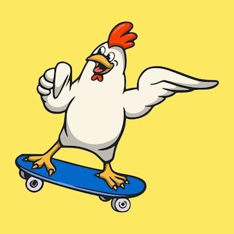 Diseño animal de dibujos animados gallo patinaje lindo logotipo de la mascota