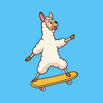 Diseño animal de dibujos animados llama monopatín mascota linda