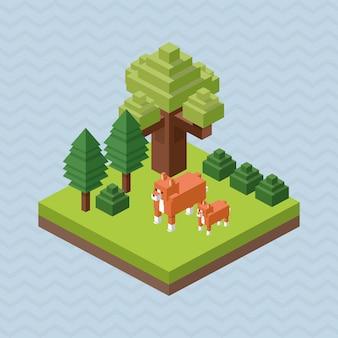 Diseño animal isométrica concepto de naturaleza
