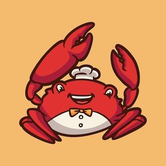 Diseño de animales de dibujos animados feliz cangrejo lindo logotipo de mascota