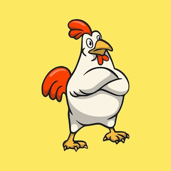 Diseño de animales de dibujos animados logotipo de mascota lindo gallo fresco