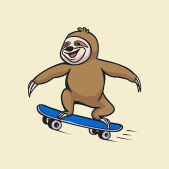 Diseño de animales de dibujos animados monopatín perezoso logotipo de mascota lindo
