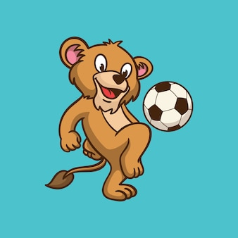 Diseño de animales de dibujos animados niños león jugando a la pelota logotipo de mascota lindo
