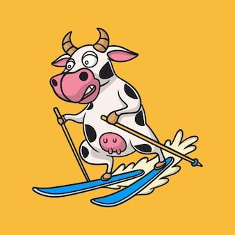 Diseño de animales de dibujos animados vacas esquí sobre hielo lindo logotipo de mascota