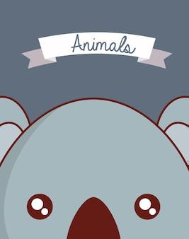 Diseño de animales lindos con fondo de cara de koala