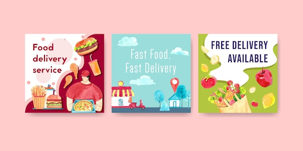 Diseño de anuncios de entrega con hombres, comida, vegetales, pizza, hamburguesa, ilustración acuarela.