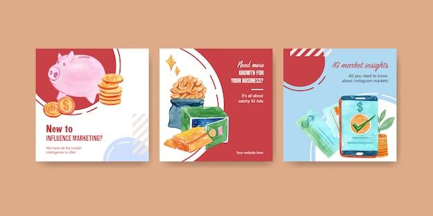 Diseño de anuncios de finanzas con dinero, moneda, efectivo, negocios y banca ilustración acuarela.