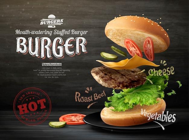 Diseño de anuncios de hamburguesa en el fondo de la pizarra en la ilustración 3d
