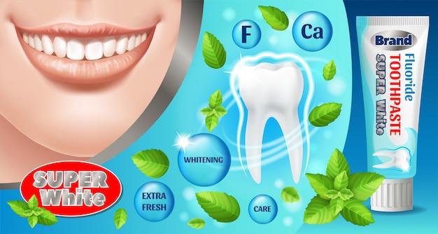 Diseño de anuncios de pasta de dientes. producto cosmético.