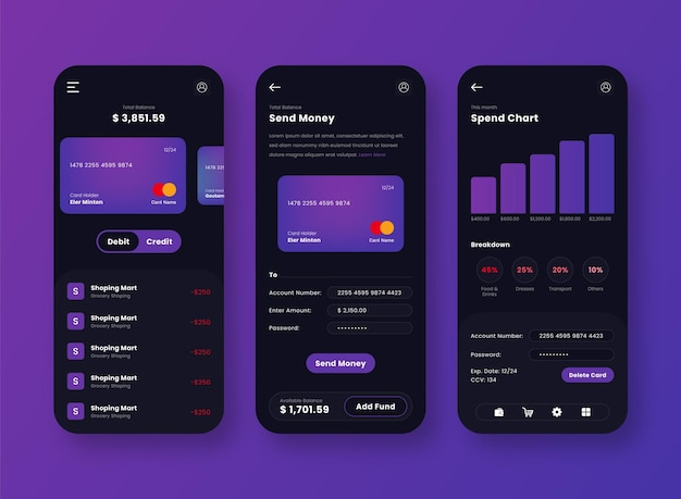 Diseño de aplicación móvil ui de pasarela de pago