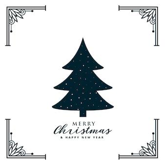Diseño de árbol de navidad con borde de marco decorativo.