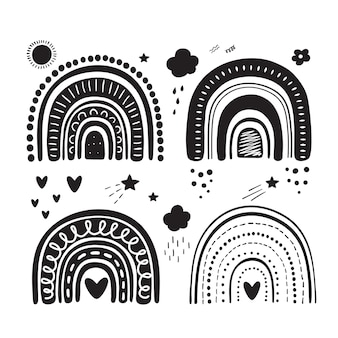 Diseño de arco iris silueta negra. conjunto tribal. clipart de niños