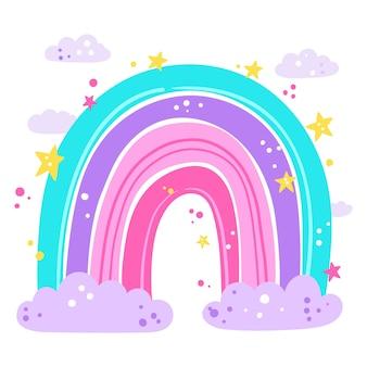 Diseño de arcoiris de dibujo a mano