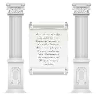 Diseño de arquitectura romana antigua con piedra de mármol y texto en piedra pergamino de pared, vector grabado texto en ilustración de mármol