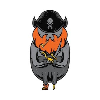 Diseño de arte de ilustración de dibujos animados de personaje pirata