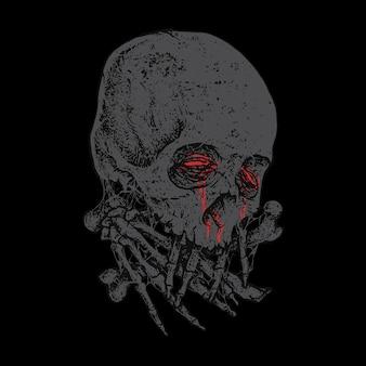 Diseño de arte de ilustración de terror de calavera