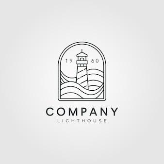 Diseño de arte de línea de logotipo de faro