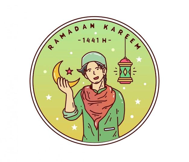 Diseño de arte de línea de personaje de ramadán kareem joven