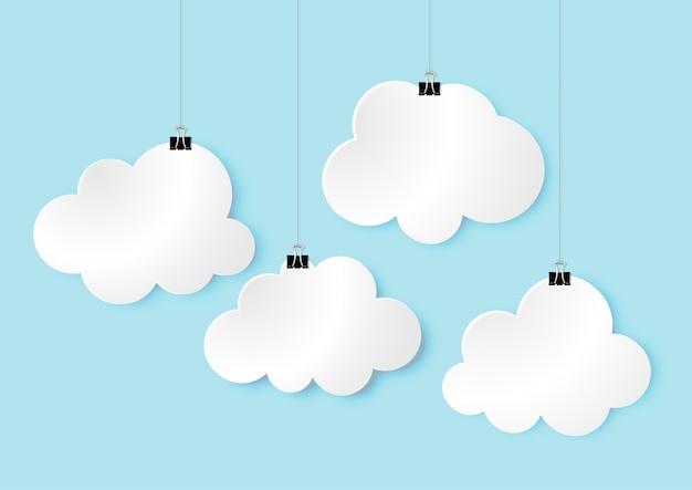 Diseño de arte de papel moderno de la muestra de cuatro nubes 3d