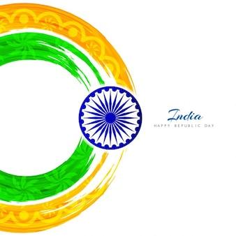 Diseño artístico de la bandera de india circular