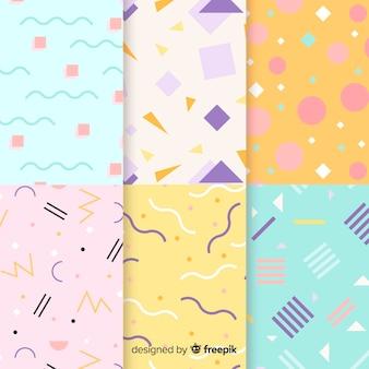 Diseño artístico de colección de patrones de memphis