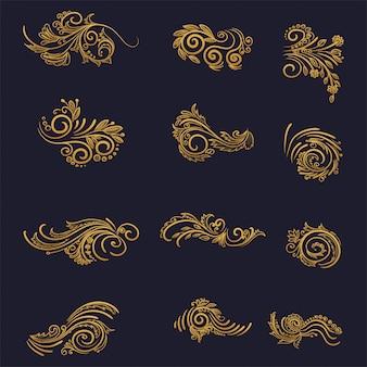 Diseño artístico decorativo floral dorado.